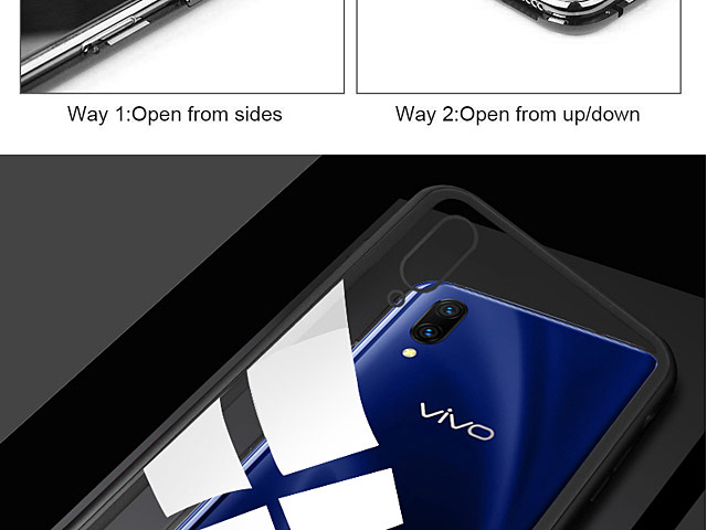 vivo X23 Magnetic Aluminum Case with Tempered Glass