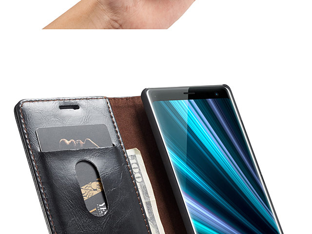 Sony Xperia XZ3 Magnetic Flip Leather Wallet Case