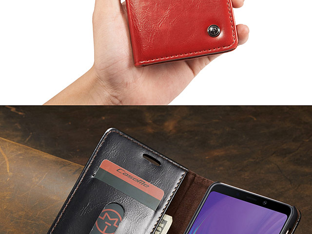 Samsung Galaxy A7 (2018) Magnetic Flip Leather Wallet Case