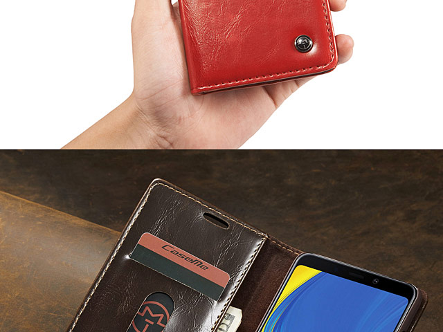 Samsung Galaxy A9 (2018) Magnetic Flip Leather Wallet Case