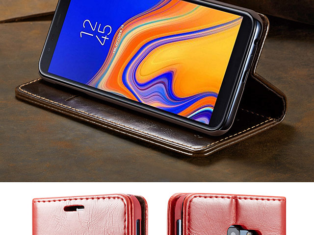 Samsung Galaxy J4+ (2018) Magnetic Flip Leather Wallet Case