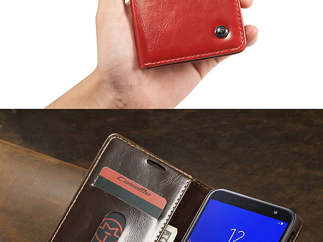 Samsung Galaxy J6+ (2018) Magnetic Flip Leather Wallet Case