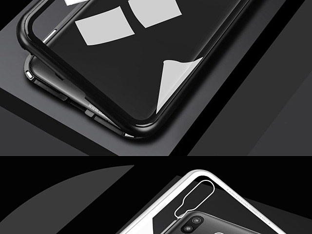 Samsung Galaxy M20 Magnetic Aluminum Case with Tempered Glass