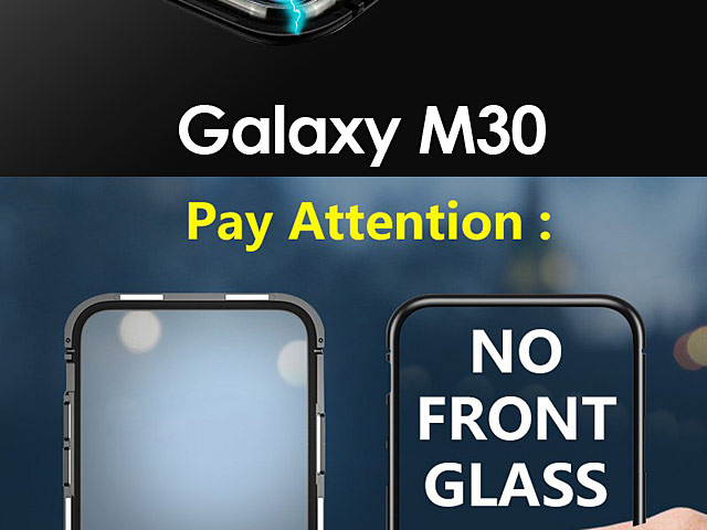 Samsung Galaxy A30 Magnetic Aluminum Case with Tempered Glass