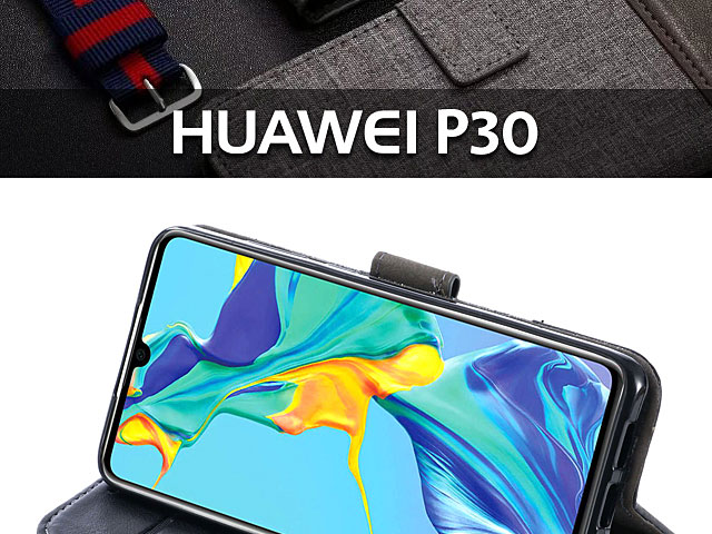 Huawei P30 Canvas Leather Flip Card Case