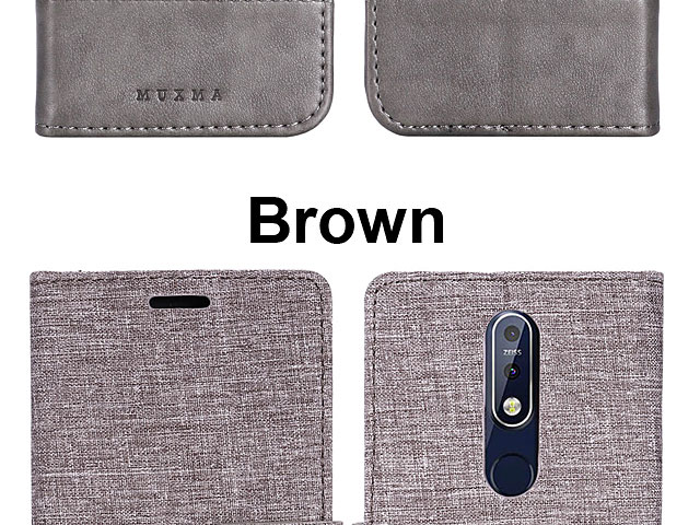 Nokia 7.1 Canvas Leather Flip Card Case