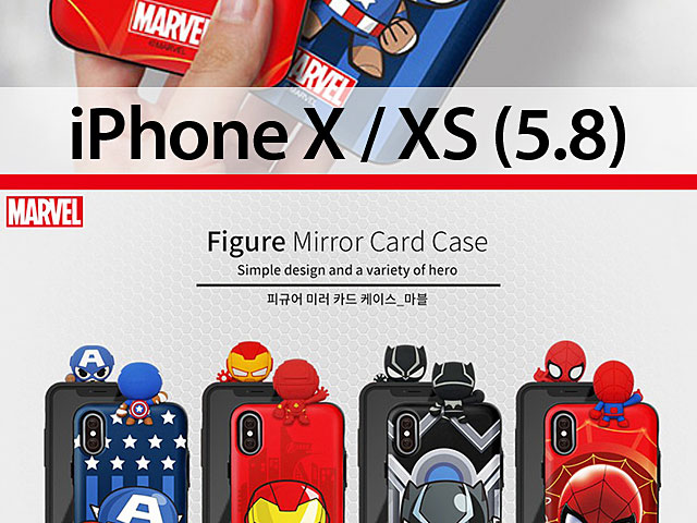 3D Marvel Series Mirror Card Case for iPhone X / XS (5.8)