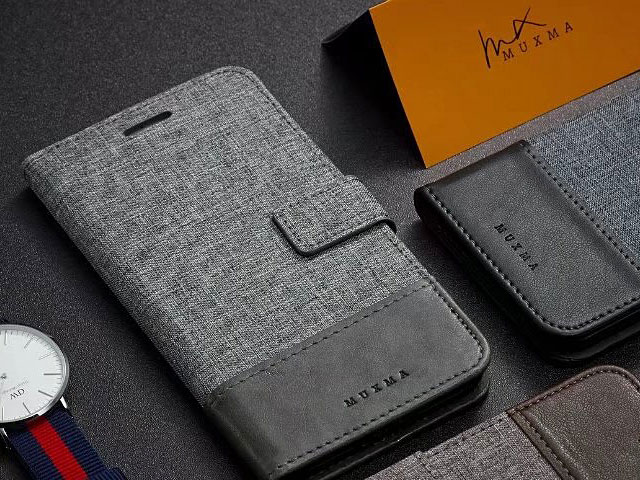 Sony Xperia 10 Plus Canvas Leather Flip Card Case