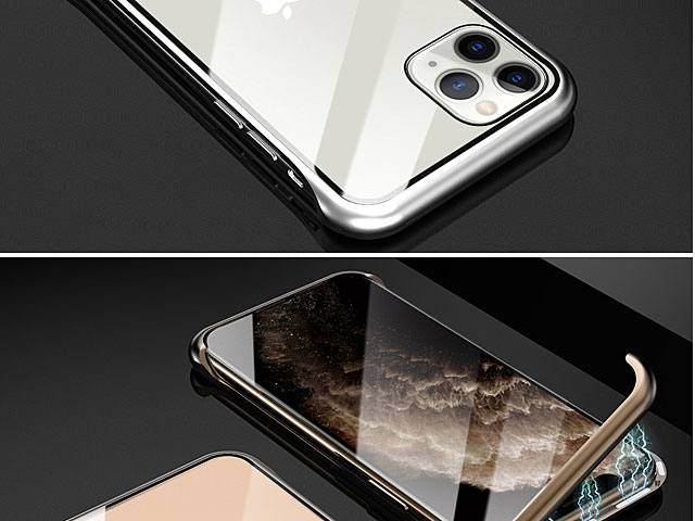 iPhone 11 Pro Max (6.5) Magnetic Aluminum Case with Tempered Glass