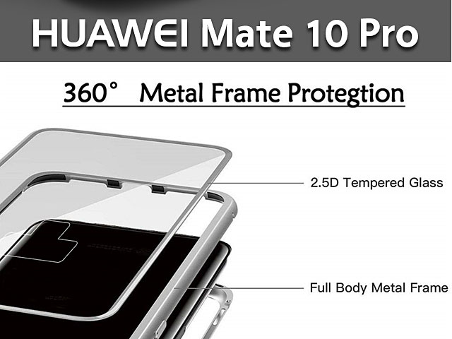 Huawei Mate 10 Pro Magnetic Aluminum Case with Tempered Glass