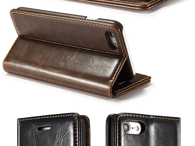 iPhone SE (2020) Magnetic Flip Leather Wallet Case