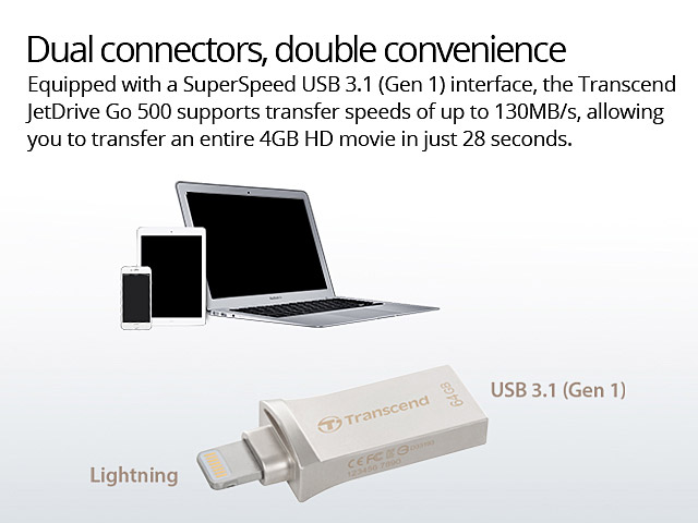 Transcend JetDrive Go 500 USB 3.1 Lightning Flash Drive