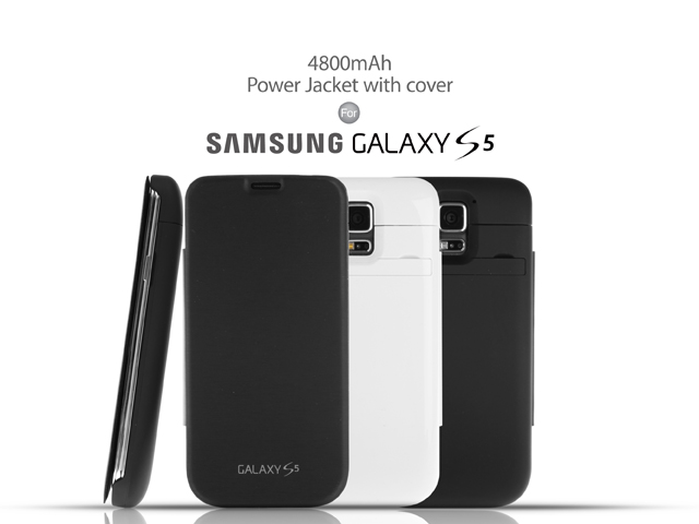 quality design e907a 58dc4 Power Jacket with cover For Samsung Galaxy S5 - 4800mAh