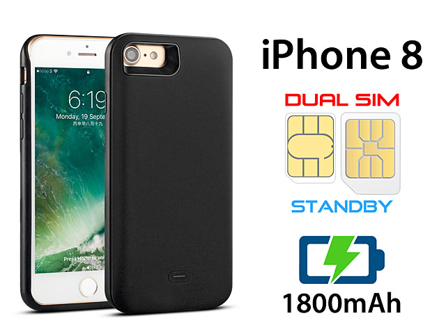 3-In-1 Dual SIM Card Power Jacket for iPhone 8