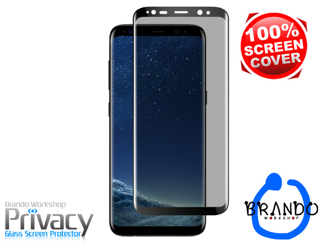 Brando Workshop Full Screen Coverage Curved Privacy Glass Screen Protector (Samsung Galaxy S8) - Black