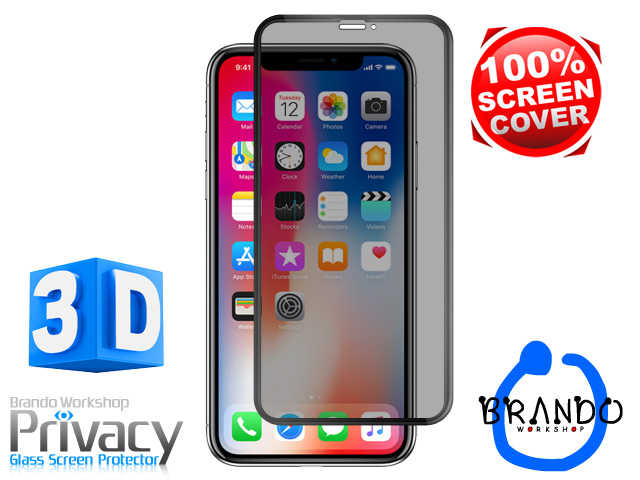 Brando Workshop Full Screen Coverage Curved Privacy Glass Screen Protector (iPhone X) - Black