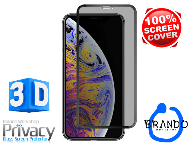 Brando Workshop Full Screen Coverage Curved Privacy Glass Screen Protector (iPhone XS (5.8)) - Black