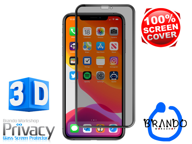 Brando Workshop Full Screen Coverage Curved Privacy Glass Screen Protector (iPhone 11 Pro (5.8)) - Black