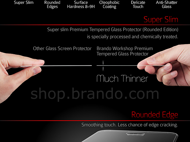 Brando Workshop Premium Tempered Glass Protector (Rounded Edition) (HTC One)