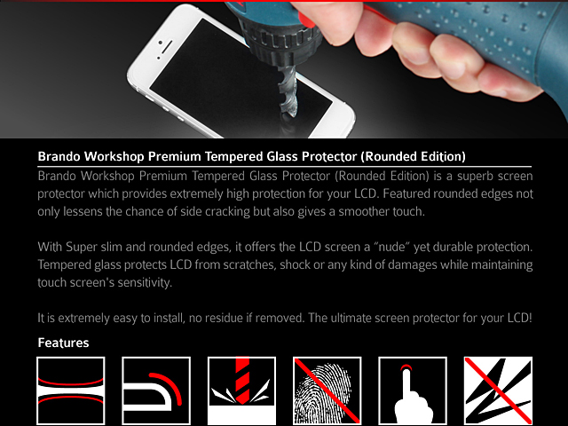 Brando Workshop Premium Tempered Glass Protector (Rounded Edition) (HTC One M9)