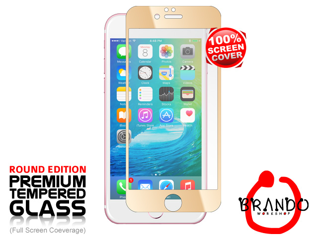 Brando Workshop Full Screen Coverage Glass Protector (iPhone 6s Plus) - Gold