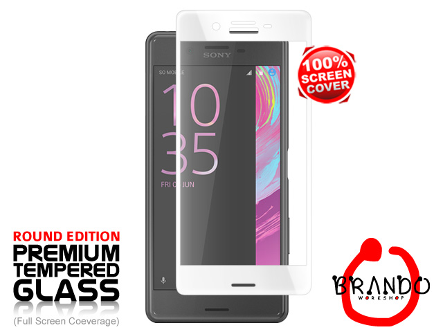 Brando Workshop Full Screen Coverage Curved Glass Protector (Sony Xperia X Performance) - White