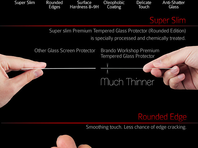 Brando Workshop Full Screen Coverage Curved Glass Protector (iPhone 6 Plus) – Transparent
