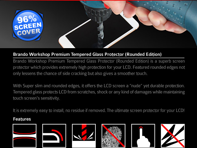 Brando Workshop 96% Half Coverage Curved Glass Protector (Samsung Galaxy S7 edge) - Black