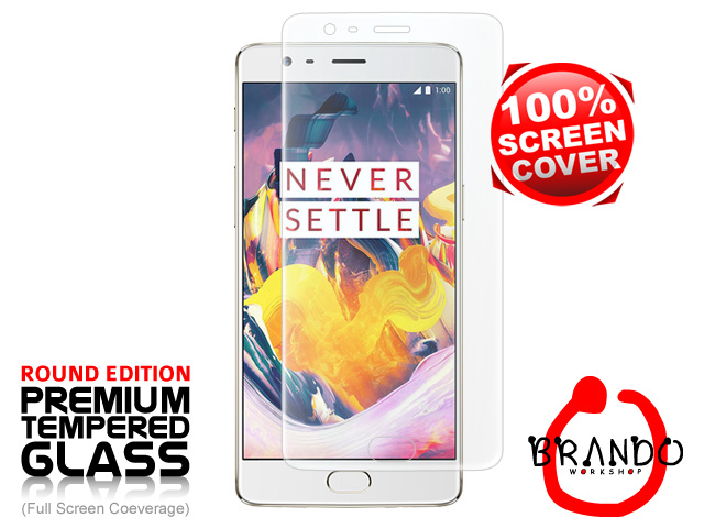 Brando Workshop Full Screen Coverage Curved Glass Protector (OnePlus 3T) - Transparent