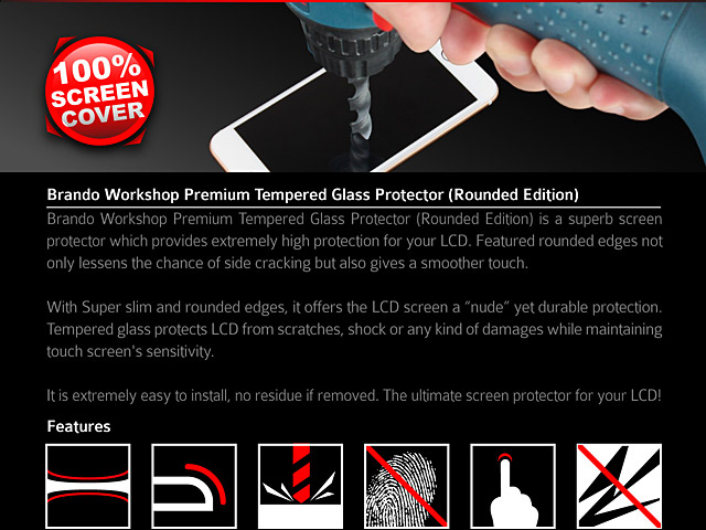 Brando Workshop Full Screen Coverage Curved Glass Protector (BlackBerry KEYone) - Black