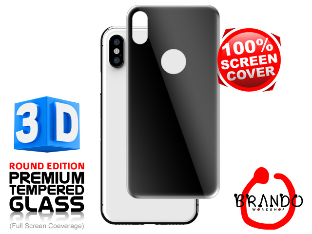 Brando Workshop Full Screen Coverage Curved 3D Glass Protector (iPhone X Back Cover) - Black