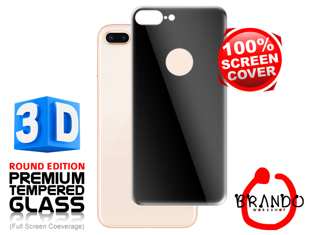 Brando Workshop Full Screen Coverage Curved 3D Glass Protector (iPhone 8 Plus Back Cover) - Black