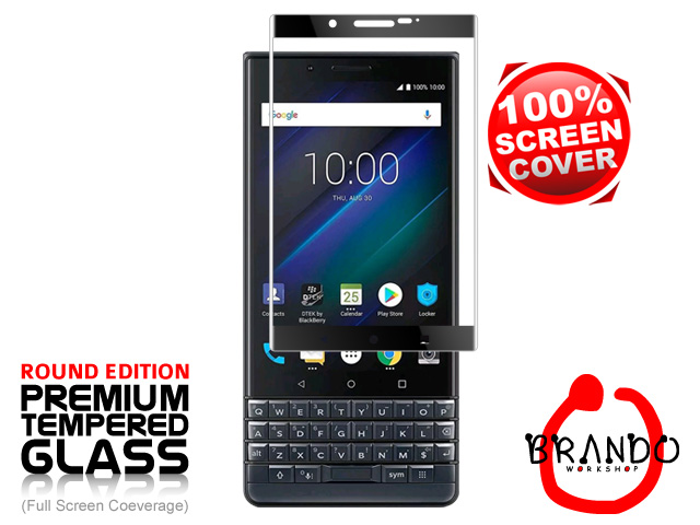 Brando Workshop Full Screen Coverage Curved Glass Protector (BlackBerry KEY2 LE) - Black