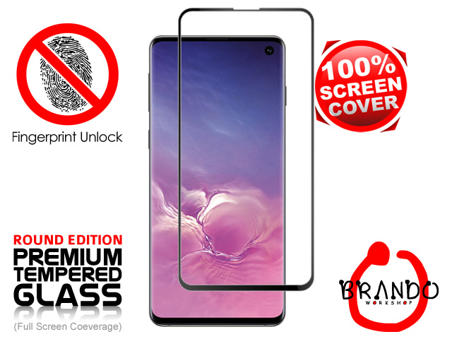 Brando Workshop Full Screen Coverage Curved Glass Protector (Samsung Galaxy S10) - Black