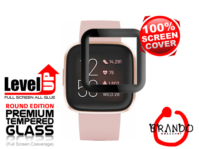 Brando Workshop Full Screen Coverage Glass Protector (Fitbit Versa 2) - Black