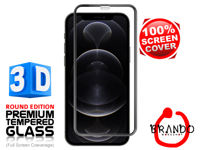 Brando Workshop Full Screen Coverage Curved 3D Glass Protector (iPhone 12 Pro (6.1)) - Black