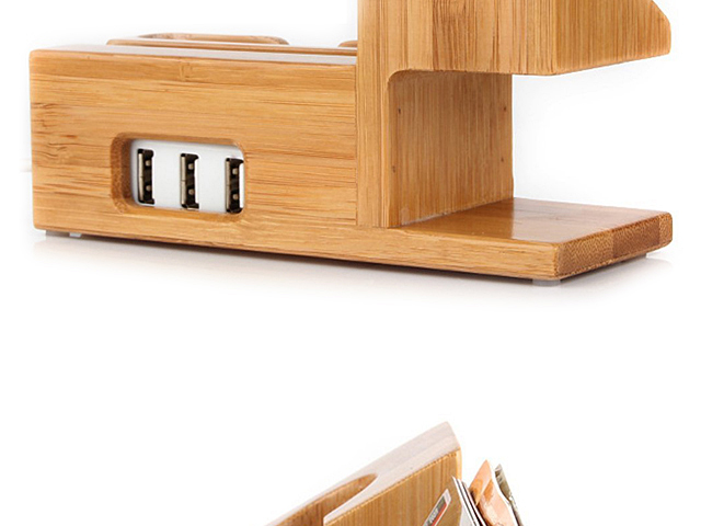 2-in-1 Bamboo Charging Stand
