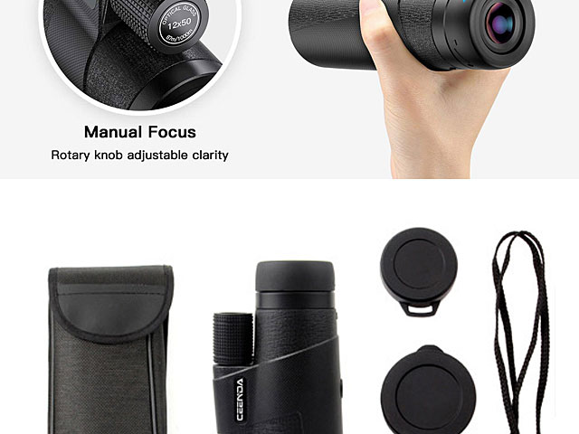 Universal 12x50 High Power HD Monocular Telescope with Tripod Stand