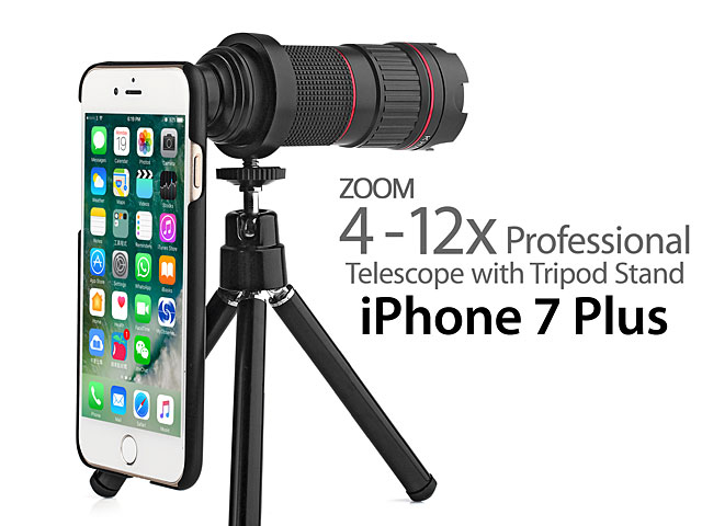 new concept 424fe 1fbad Professional iPhone 7 Plus 4-12x Zoom Telescope with Tripod Stand