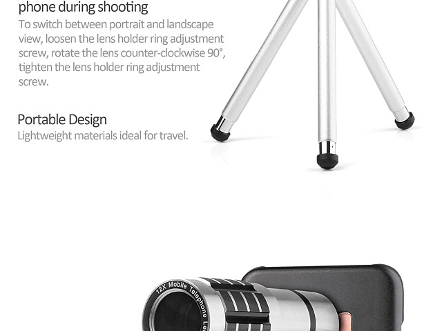 Professional Samsung Galaxy S8+ 12x Zoom Telescope with Tripod Stand