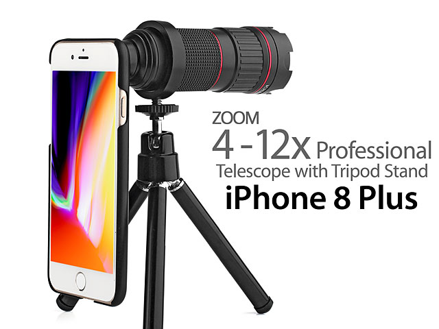 Professional iPhone 8 Plus 4-12x Zoom Telescope with Tripod Stand