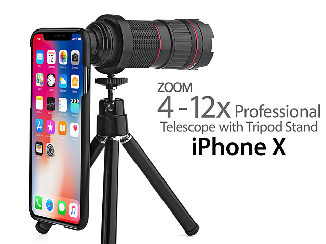Professional iPhone X 4-12x Zoom Telescope with Tripod Stand