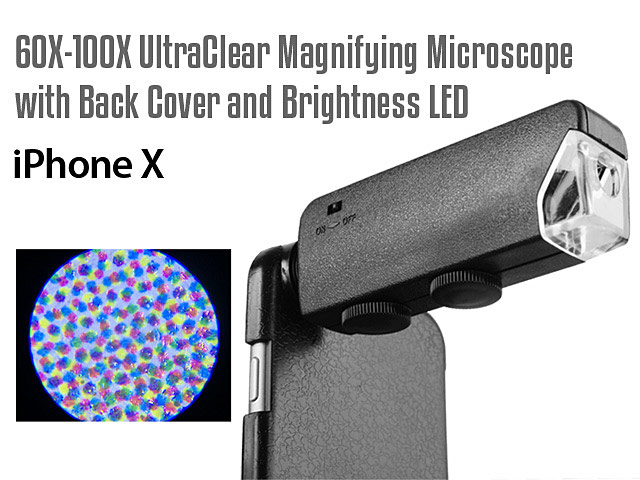 iPhone X 60X-100X UltraClear Magnifying Microscope with Back Cover and Brightness LED