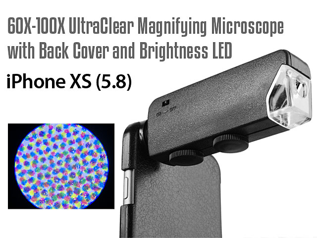 iPhone XS (5.8) 60X-100X UltraClear Magnifying Microscope with Back Cover and Brightness LED