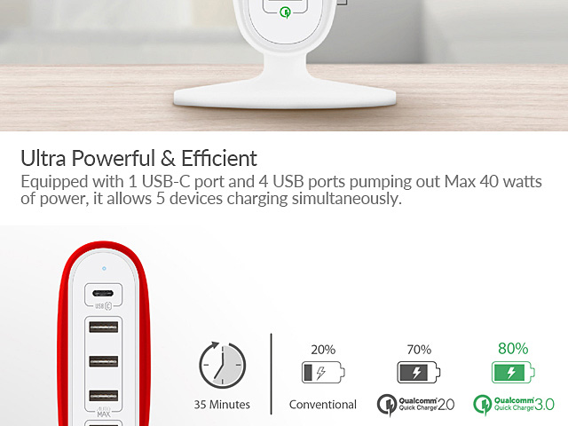 Momax U.Bull 5-USB Charging Station (Type-C+Q.C 3.0)