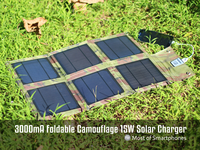Foldable Camouflage 15W Solar Charger - 3000mA