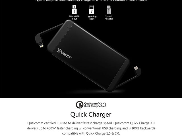 Xpower PB7Q Quick Charge 3.0 Power Bank 11000mAh