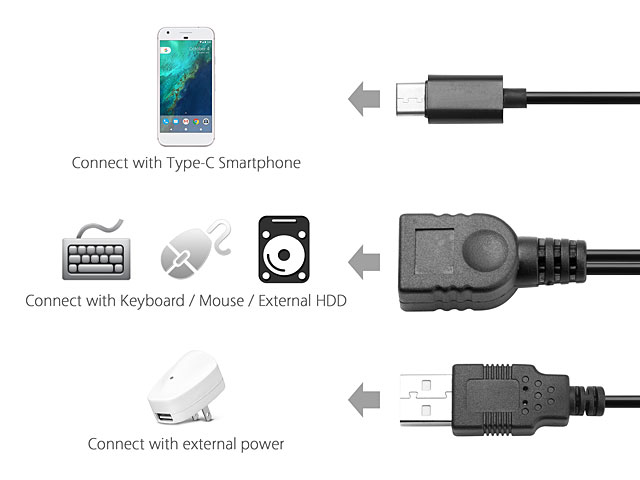 USB 3.1 Type-C OTG Cable with USB External Power Supply