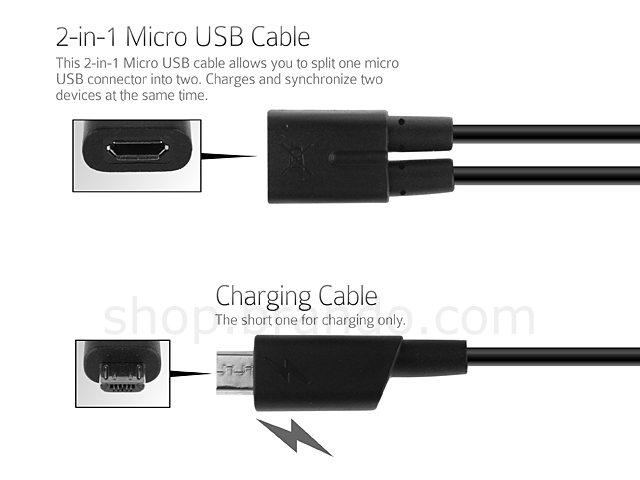 2-in-1 Micro USB Cable