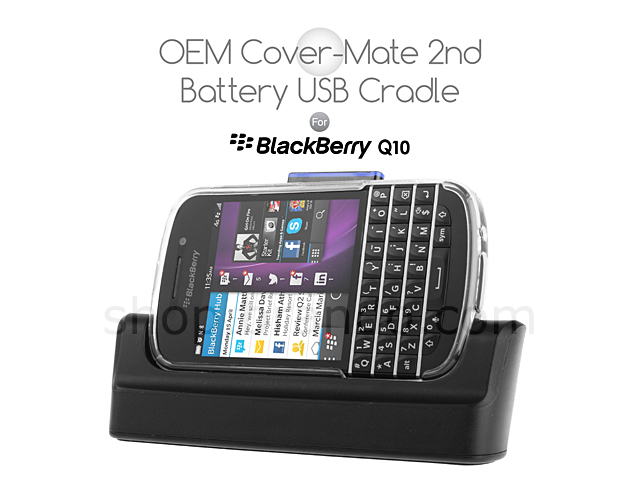 OEM BlackBerry Q10 Cover-Mate 2nd Battery USB Cradle